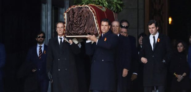 Franco remains exhumed and flown to cemetery near Madrid